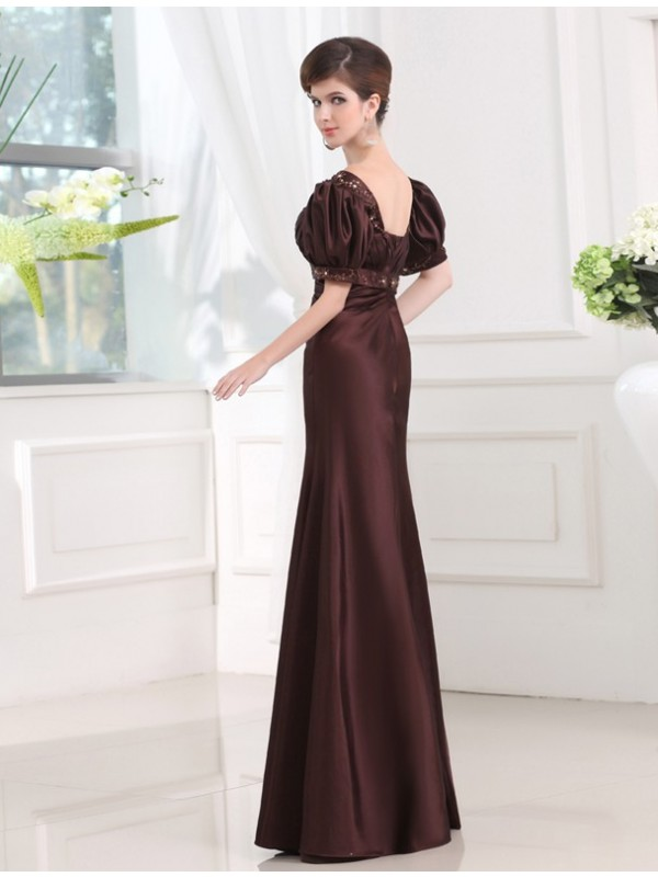 Hot Sale Sheath V-neck 1/2 Sleeves Long Satin Dress