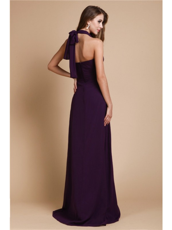Gorgeous A-Line Halter Sleeveless Long Chiffon Bridesmaid Dress