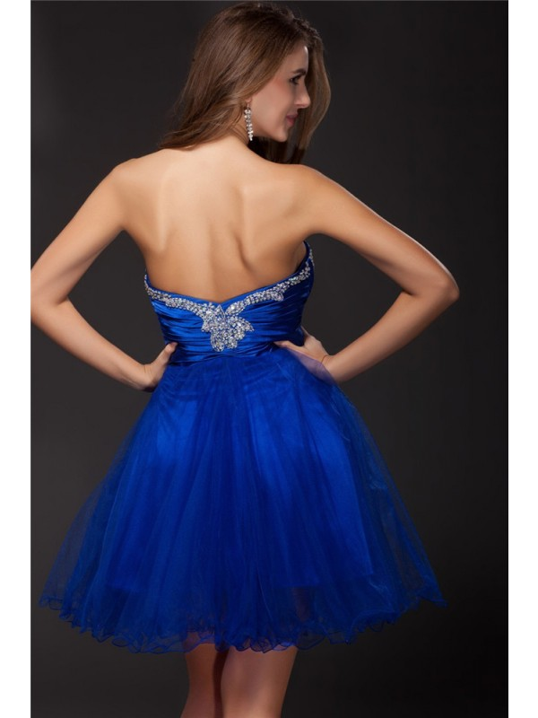 Gorgeous A-Line Strapless Sleeveless Short Net Elastic Woven Satin Cocktail Dress