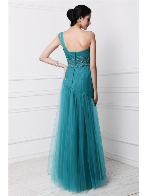 Hot Sale Sheath One-Shoulder Sleeveless Long Net Dress