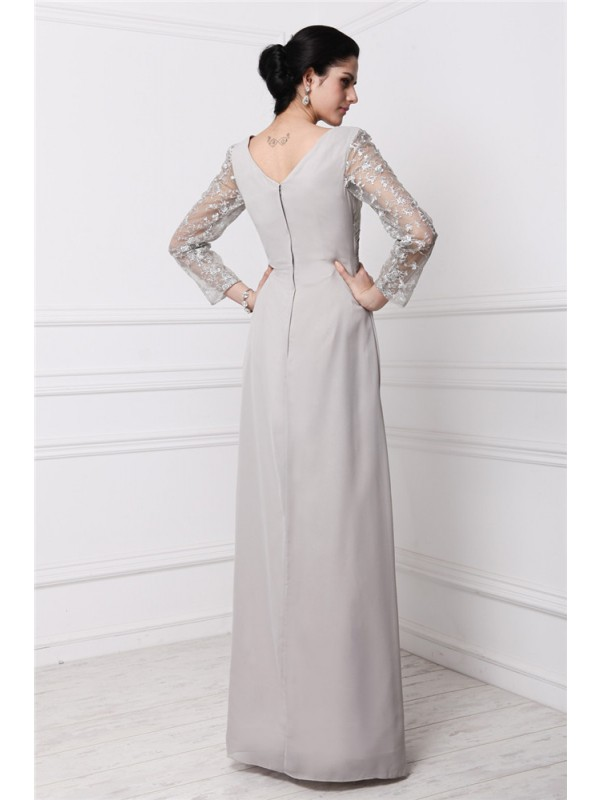 Modest Sheath V-neck Long Sleeves Lace Long Chiffon Dress