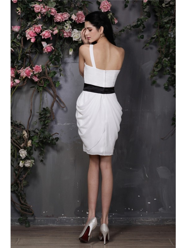Gorgeous Sheath One-Shoulder Sleeveless Short Chiffon Cocktail Dress