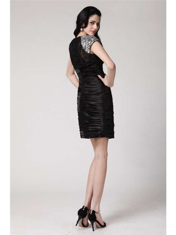 Hot Sale Sheath Scoop Short Sleeves Lace Short Elastic Woven Satin Cocktail Dress