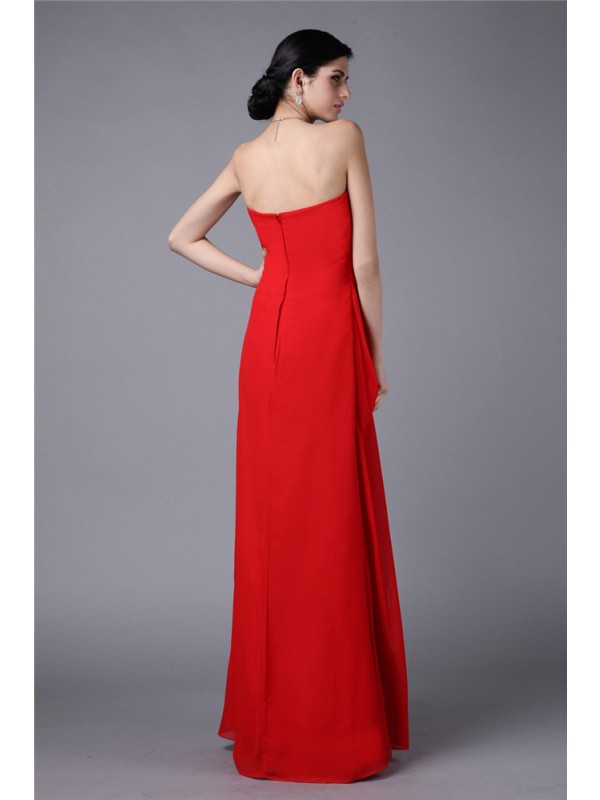 Hot Sale Sheath Strapless Sleeveless Long Chiffon Dress