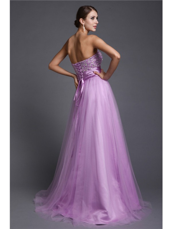 Hot Sale A-Line Strapless Sleeveless Long Net Dress