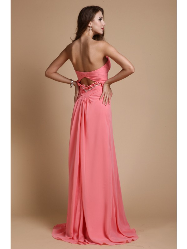 Gorgeous A-Line Sweetheart Sleeveless Chiffon Long Bridesmaid Dress