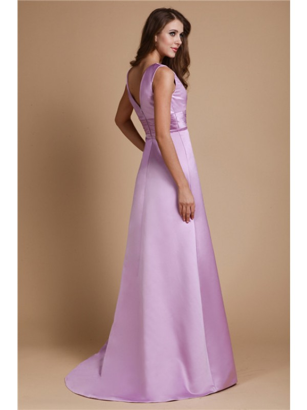 Gorgeous A-Line V-neck Long Sleeveless Elastic Woven Satin Bridesmaid Dress