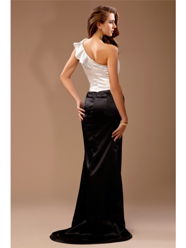 Gorgeous Sheath One-Shoulder Sleeveless Long Satin Bridesmaid Dress