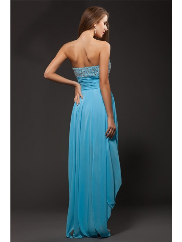 Hot Sale A-Line Sweetheart Sleeveless High Low Chiffon Cocktail Dress