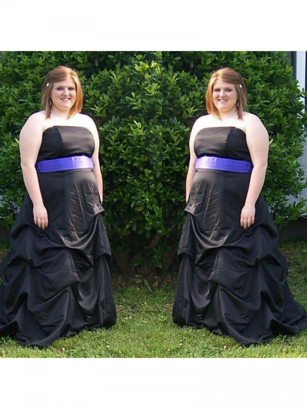 Exquisite A-Line Strapless Sleeveless Sweep/Brush Train Satin Plus Size Dress