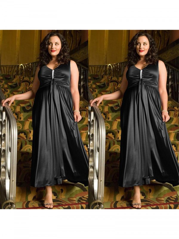 Charming A-Line V-neck Sleeveless Ankle-Length Elastic Woven Satin Plus Size Dress
