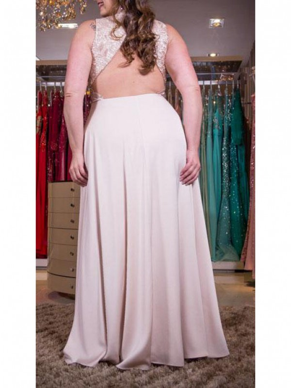 Charming A-Line V-neck Sleeveless Floor-Length Elastic Woven Satin Plus Size Dress