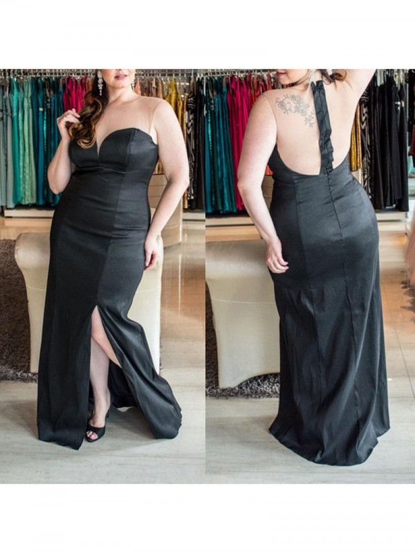 Charming Sheath Sweetheart Sleeveless Floor-Length Elastic Woven Satin Plus Size Dress