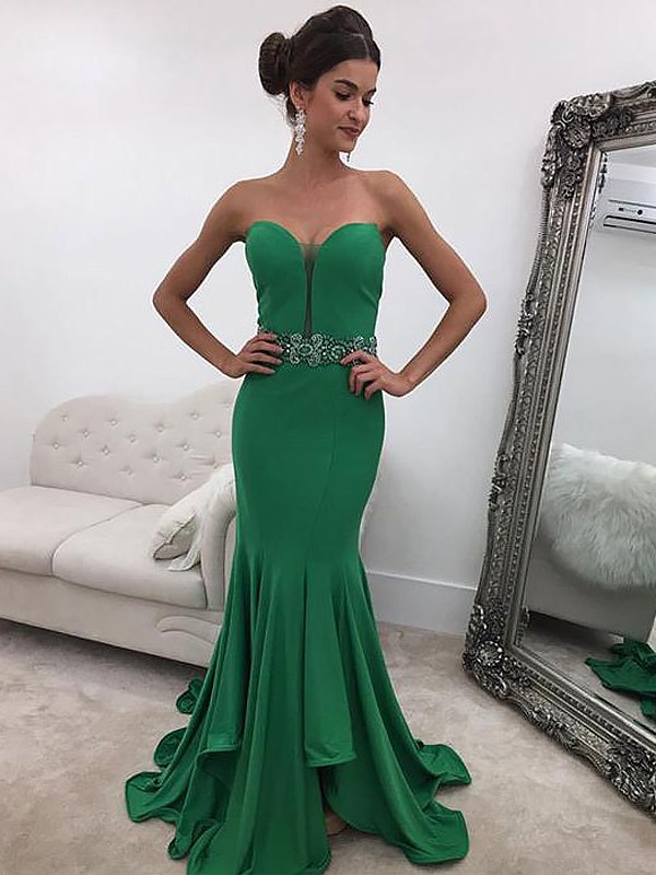 Fashion Mermaid Sleeveless Sweetheart Sweep/Brush Train Satin Dress