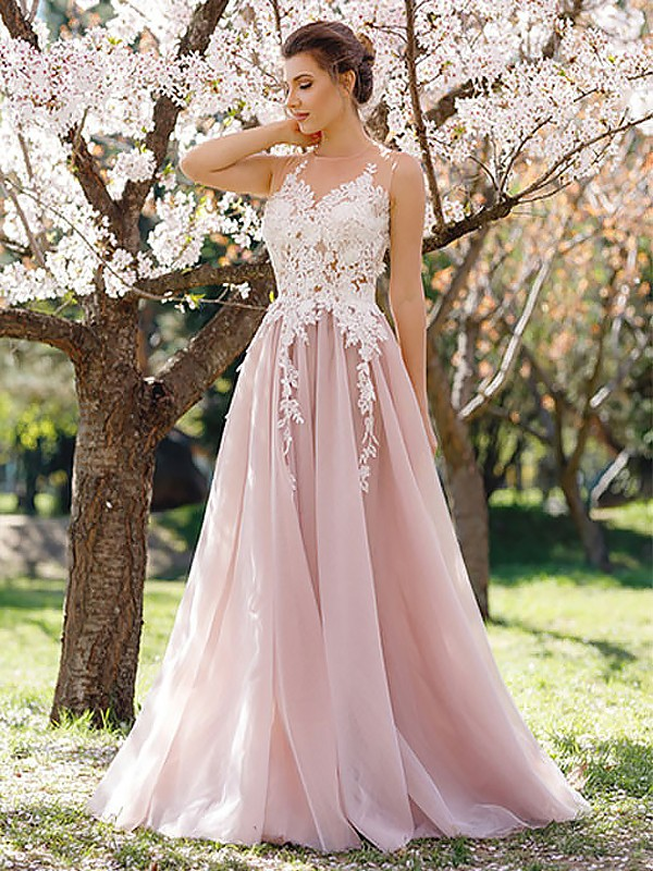 Fashion A-Line Jewel Sleeveless Floor-Length Tulle Dress
