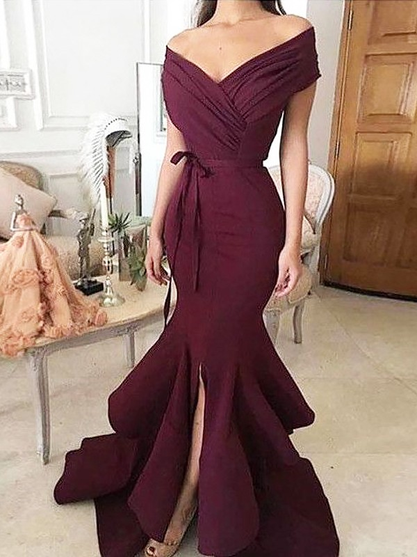 Gorgeous Mermaid Off-the-Shoulder Sleeveless Floor-Length Satin Dress