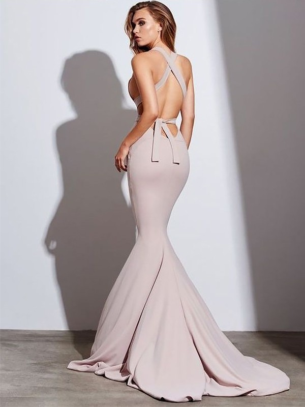 Gorgeous Mermaid V-neck Sleeveless Sweep/Brush Train Satin Dress
