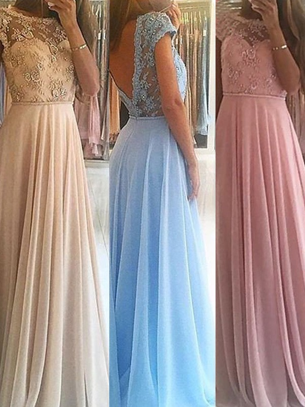 Stunning A-Line Sleeveless Scoop Floor-Length Chiffon Dress