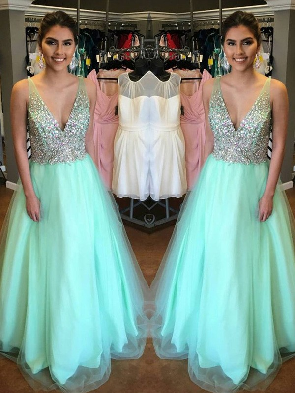 Stunning A-Line V-Neck Sleeveless Floor-Length Tulle Dress