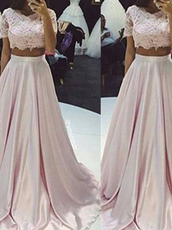 Perfect A-Line Sleeveless Scoop Floor-Length Lace Taffeta Two Piece Dress