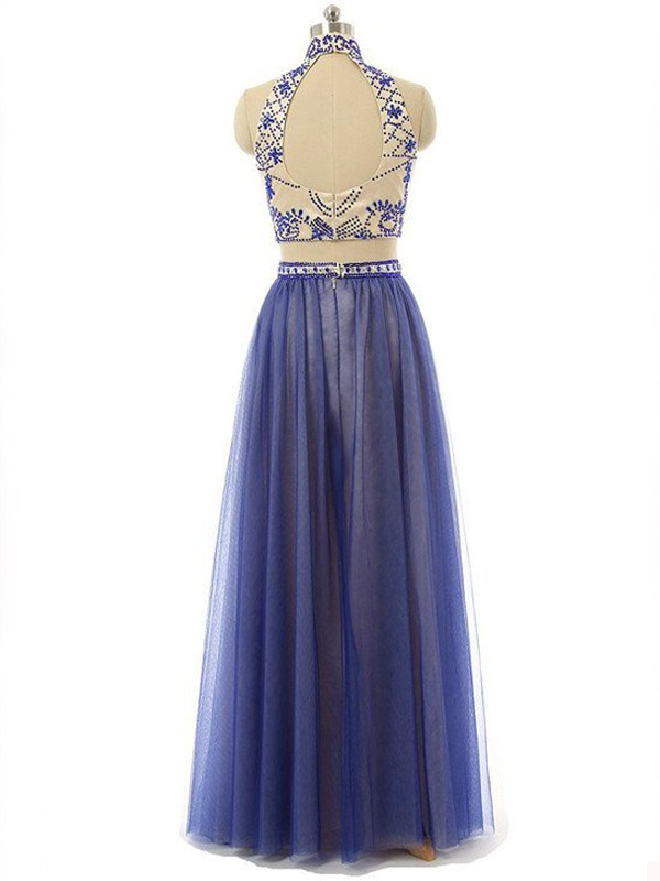 Perfect A-Line Sleeveless High Neck Chiffon Floor-Length Two Piece Dress