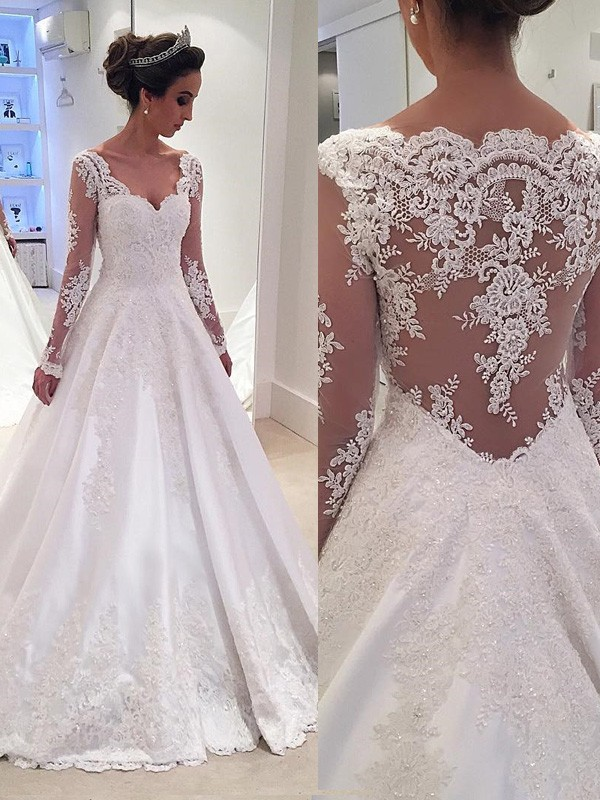 Discount Ball Gown V-neck Long Sleeves Lace Court Train Satin Wedding Dress