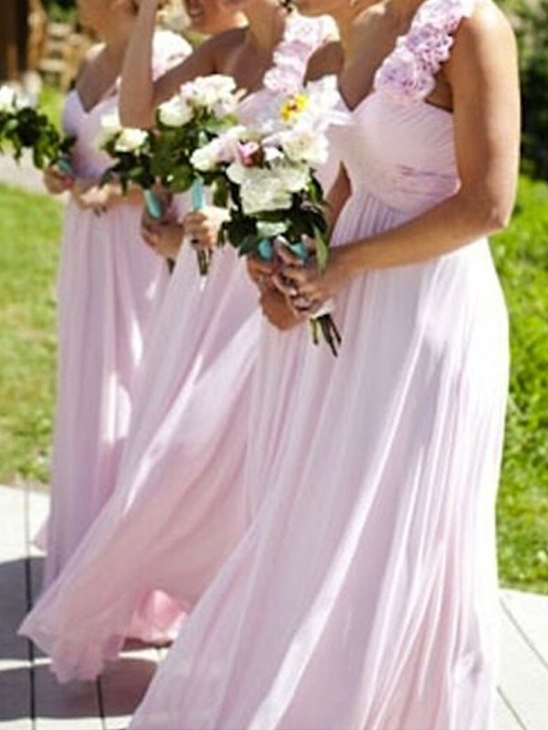 Cheap A-Line One-Shoulder Sleeveless Floor-Length Chiffon Bridesmaid Dress