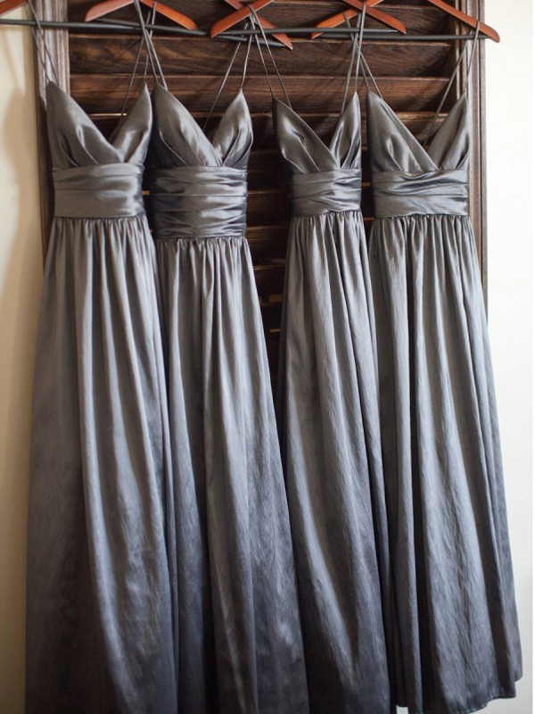Cheap A-Line Spaghetti Straps Sleeveless Floor-Length Taffeta Bridesmaid Dress