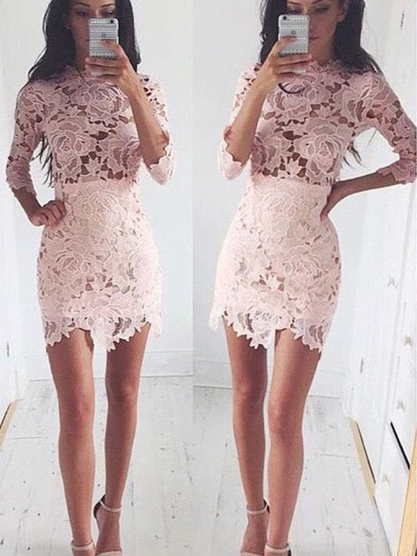 Discount A-Line 1/2 Sleeves Scoop Lace Short/Mini Dress