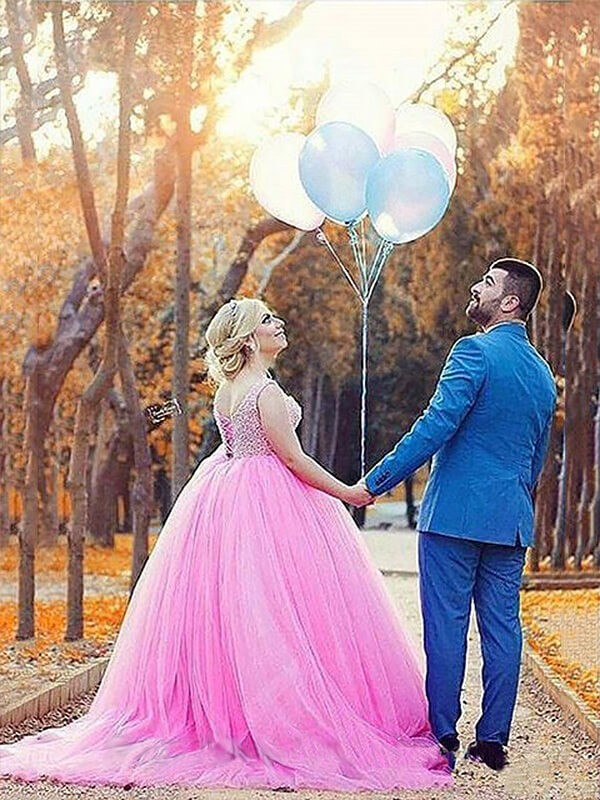 Best Ball Gown Sleeveless Sweetheart Tulle Sweep/Brush Train Plus Size Dress