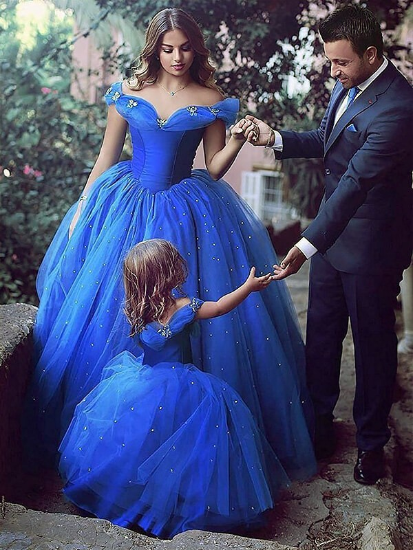 Chic Ball Gown Off-the-Shoulder Sleeveless Floor-Length Tulle Flower Girl Dress