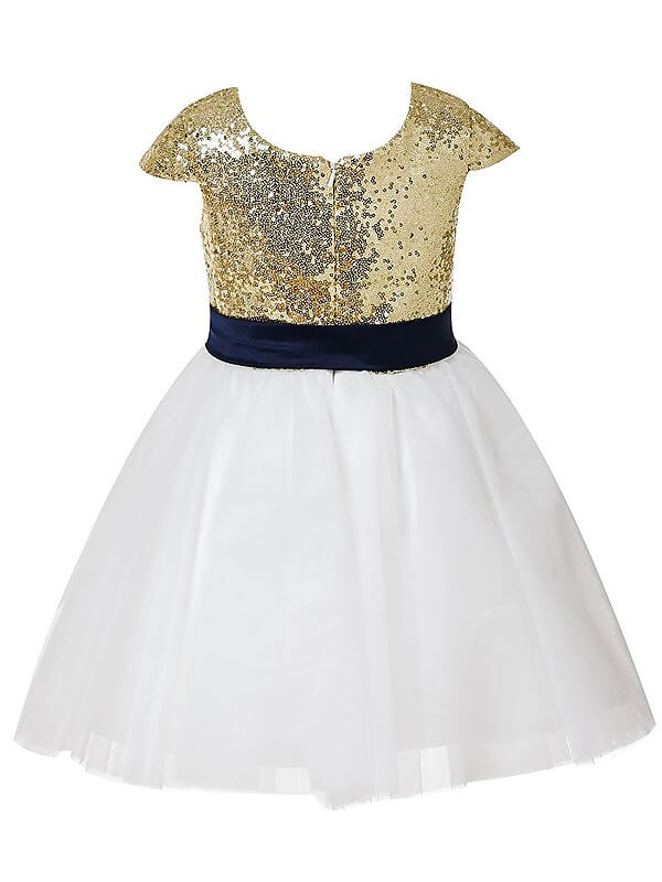 Chic A-Line Short Sleeves Jewel Sequins Tulle Tea-length Flower Girl Dress