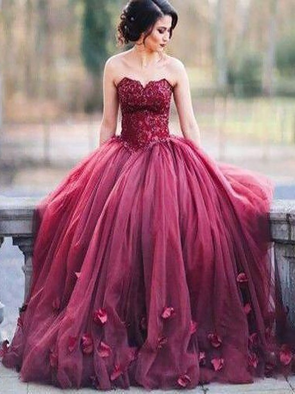 Stylish Ball Gown Sleeveless Sweetheart Floor-Length Tulle Dress