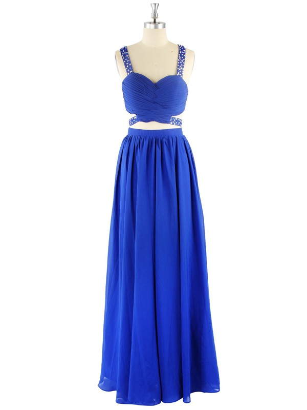 Stylish A-Line Sleeveless Sweetheart Chiffon Floor-Length Two Piece Dress