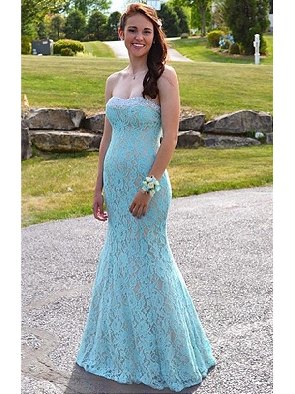 Fashion Mermaid Sleeveless Sweetheart Lace Floor-Length Dress