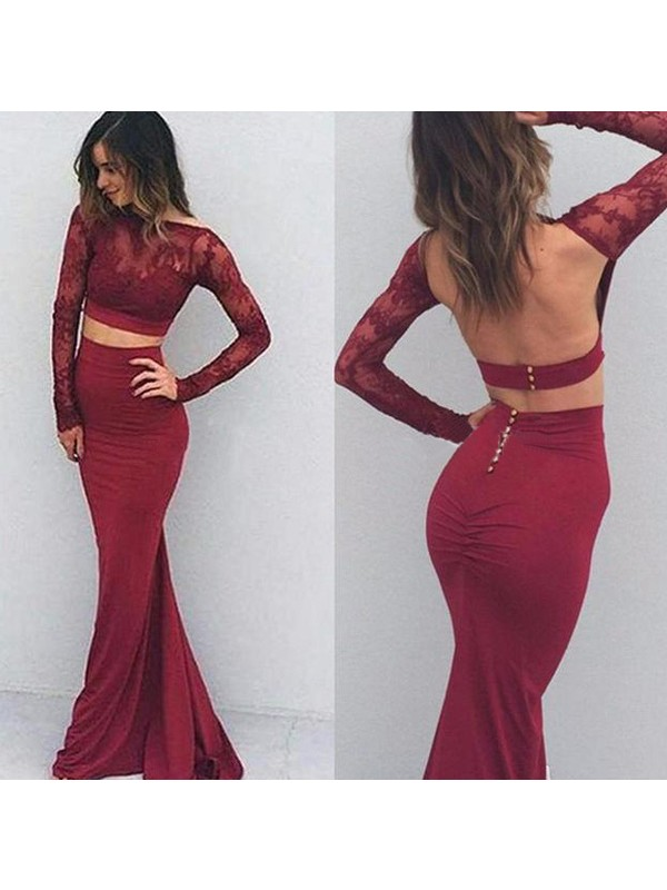 Perfect Mermaid Bateau Spandex Long Sleeves Floor-Length Dress
