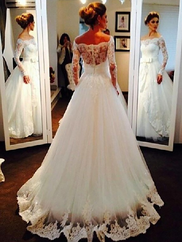 Exquisite Ball Gown Tulle Long Sleeves Off-the-Shoulder Sweep/Brush Train Wedding Dress