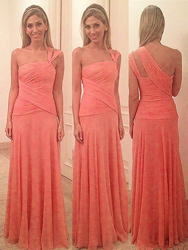 Exquisite Sheath One-Shoulder Sleeveless Floor-Length Chiffon Bridesmaid Dress