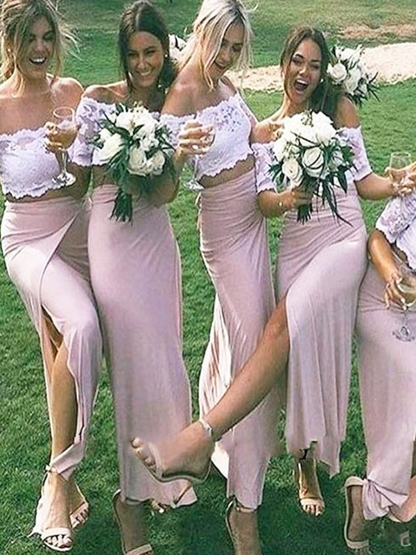 Exquisite Sheath Jersey Off-the-Shoulder Floor-Length Short Sleeves Bridesmaid Dress