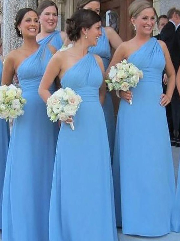Exquisite Sheath One-Shoulder Chiffon Sleeveless Floor-Length Bridesmaid Dress