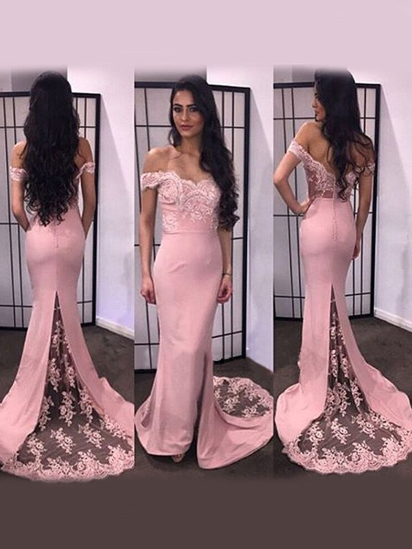 Cheap Mermaid Off-the-Shoulder Sleeveless Lace Satin Sweep/Brush Train Dress