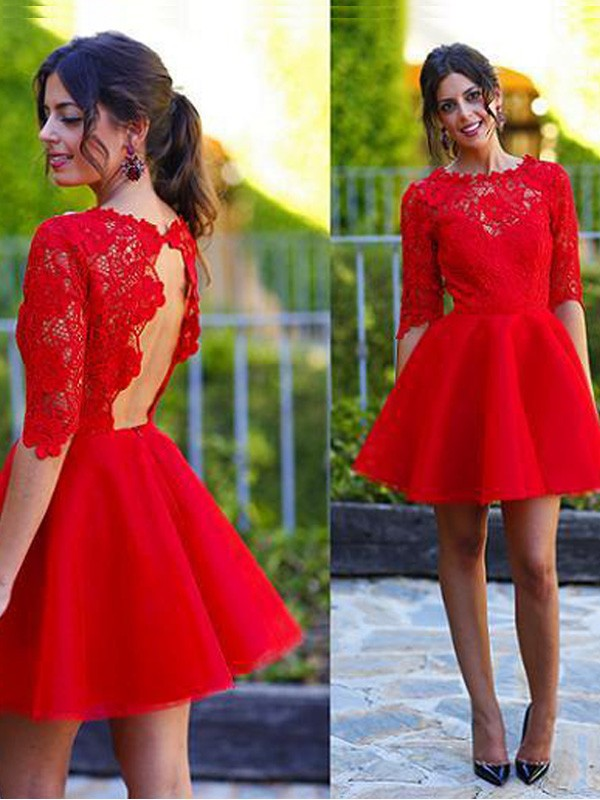 Discount A-Line Scoop 1/2 Sleeves Lace Short/Mini Dress