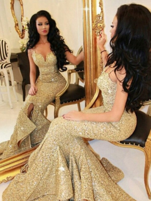 Stunning Mermaid Sweetheart Sleeveless Sweep/Brush Train Sequins Dress