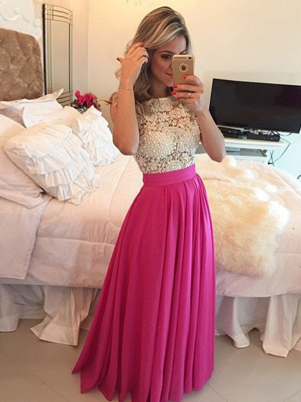 Stunning A-Line Scoop Sleeveless Lace Floor-Length Chiffon Dress