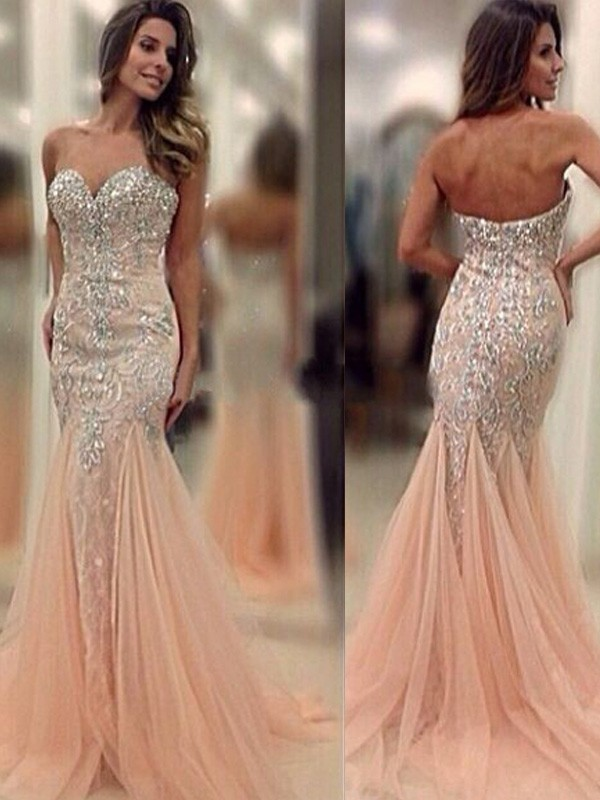 Stunning Mermaid Sweetheart Sleeveless Sweep/Brush Train Tulle Dress