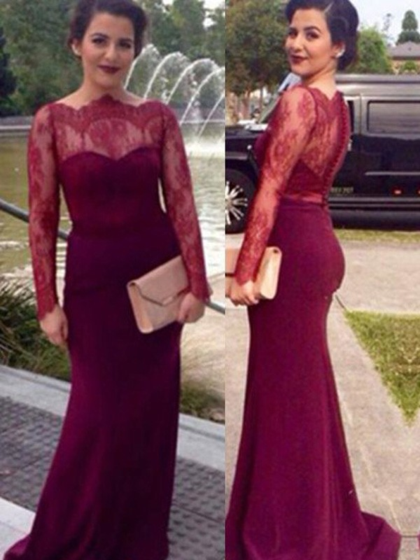 Stunning Sheath Scoop Long Sleeves Lace Floor-Length Chiffon Dress
