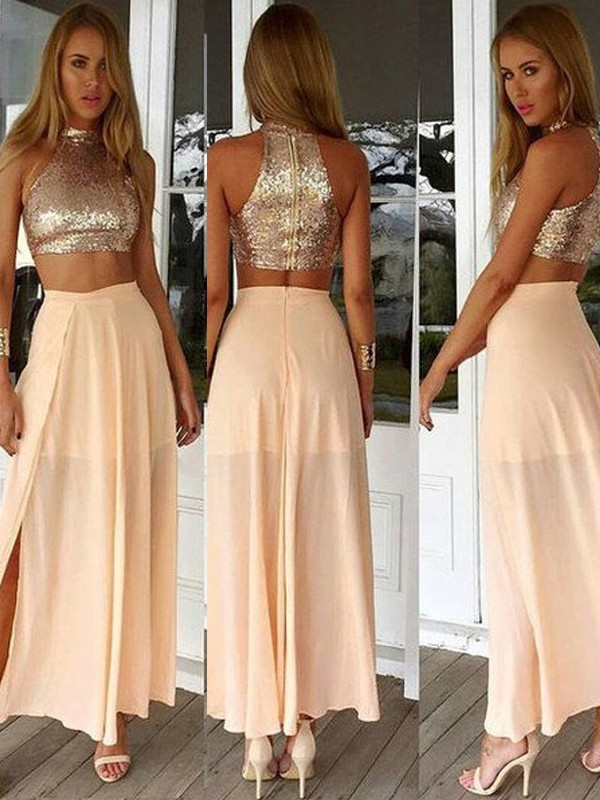 Stunning A-Line High Neck Sleeveless Sequin Chiffon Ankle-Length Dress