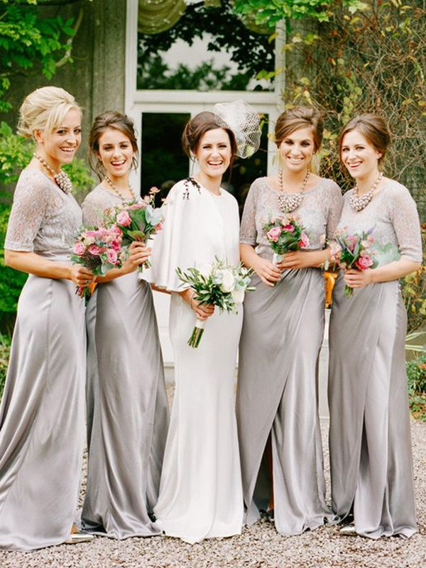 Affordable A-Line Scoop 1/2 Sleeves Floor-Length Satin Bridesmaid Dress