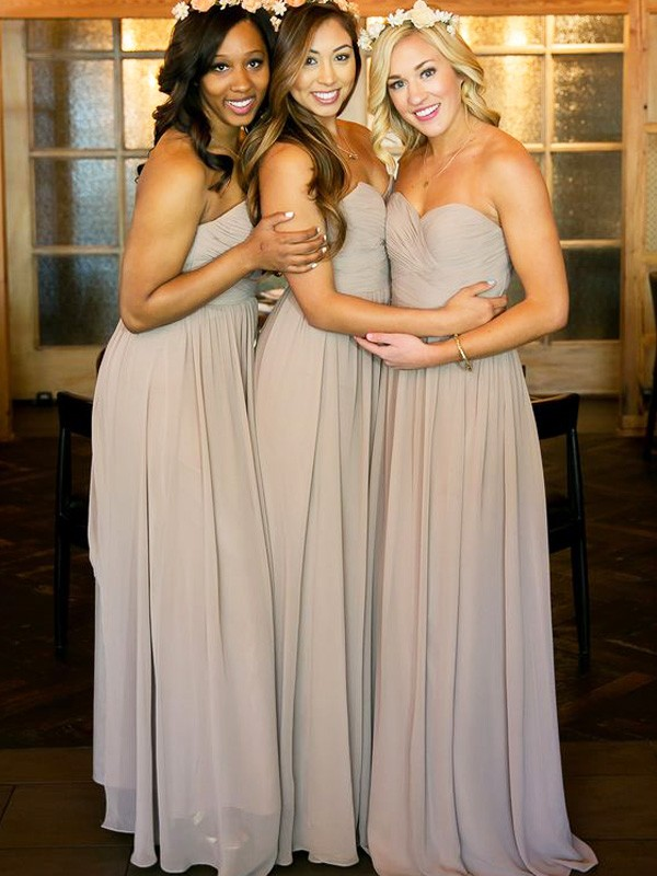 Affordable A-Line Sweetheart Sleeveless Floor-Length Chiffon Bridesmaid Dress