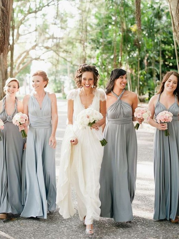Affordable A-Line Sleeveless Floor-Length Chiffon Bridesmaid Dress